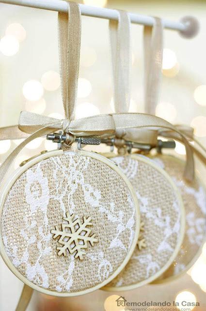 burlap, lace, snowflake, ribbon,