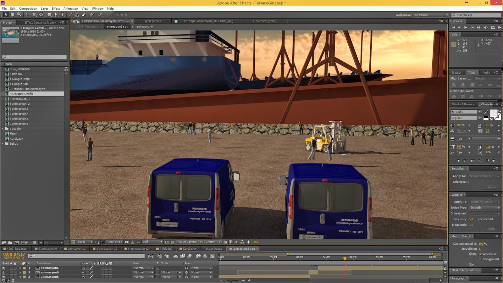 Tersane Animasyonu - After Effect Görsel Efekler Montaj Detayı