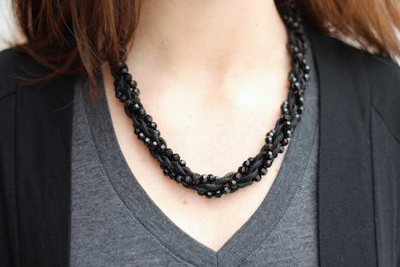 Chunky Black Beaded Necklace, Black & Charcoal | StyleSidebar