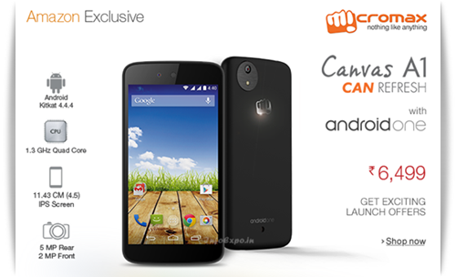 Micromax Canvas A1: 4.5inch, 1.3 Ghz Android One Smartphone for Rs.6499