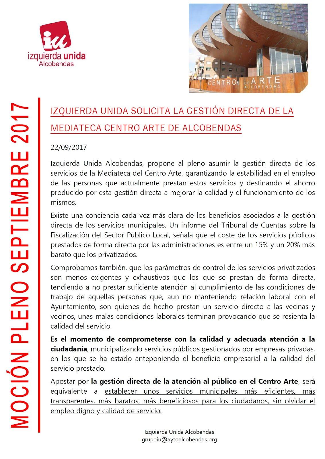 Gestión directa Mediateca Centro Arte