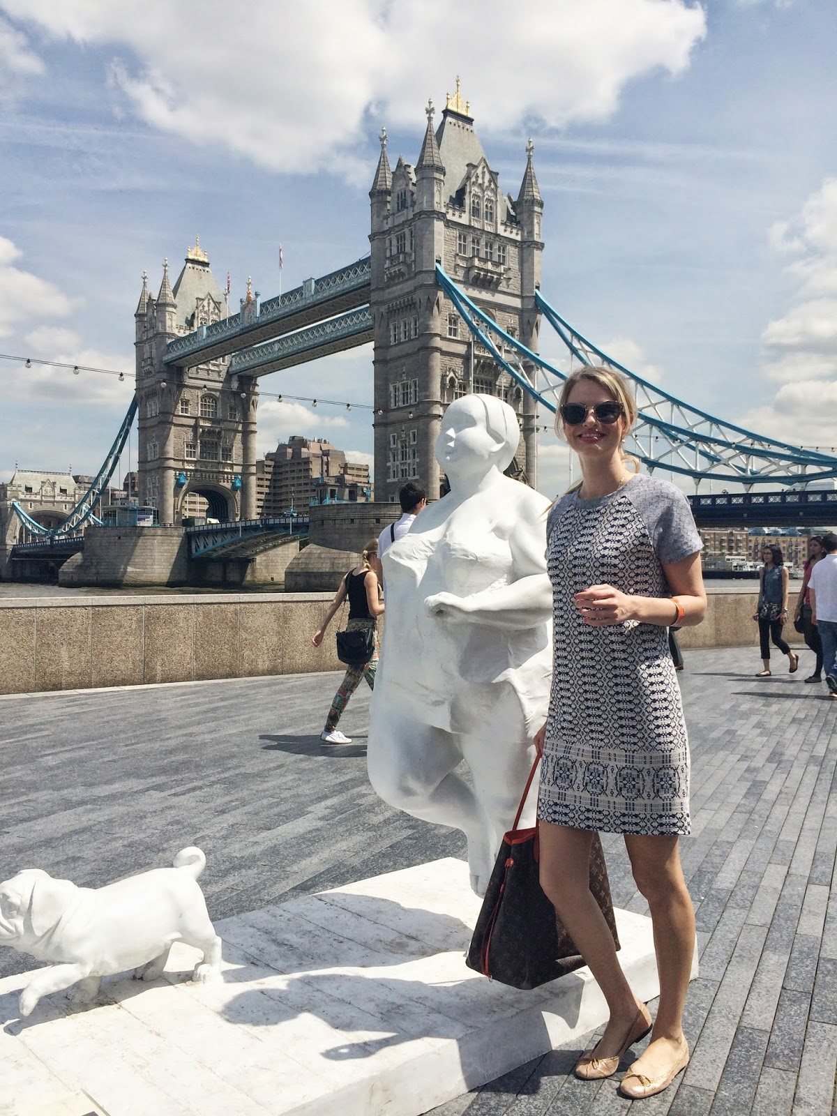 hobbs, tower bridge, london blogger, blue dress, shirt dress, xu hongei, river thames, louis vuitton, neverful, lv neverful, fashion blogger, london fashion blogger, french sole