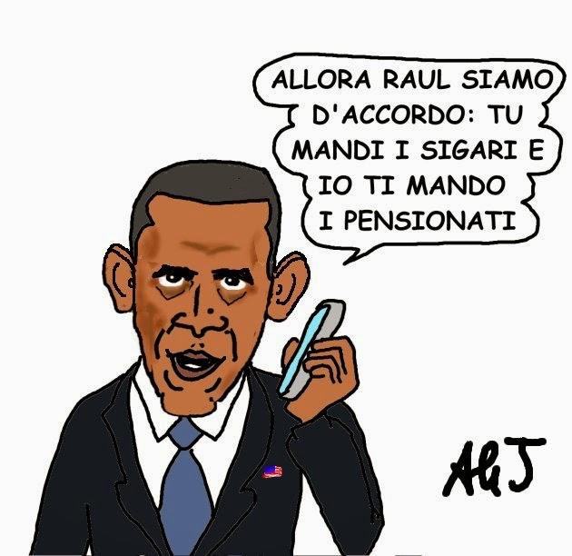 obama, raul castro, cuba, vignetta, satira