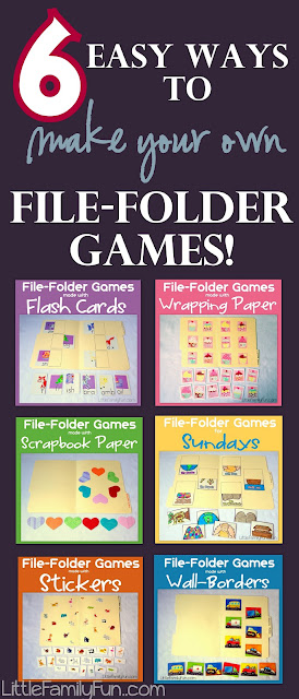 6 easy ways to make your own file folders from little family fun this is a great way to customize your games with resources you already have
