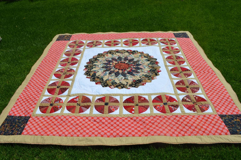 Giant Dahlia Quilt/ Asian Fabric