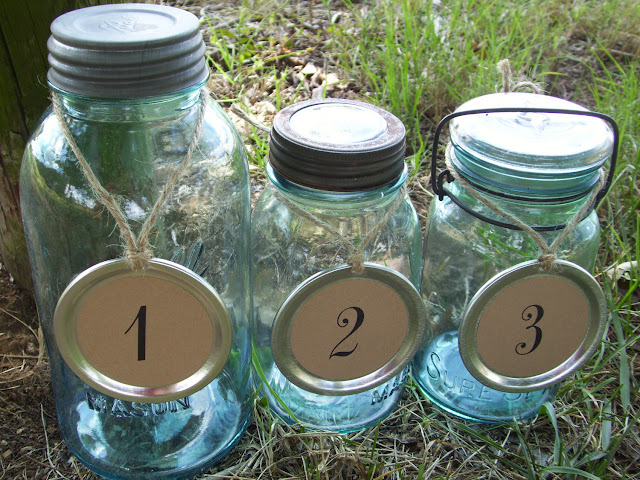 Mason Jar Wedding Ideas - Table Numbers Mason Jar Lid Numbers