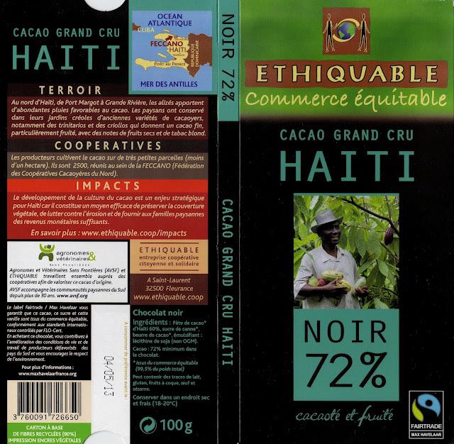 tablette de chocolat noir dégustation ethiquable cacao grand cru haïti noir 72