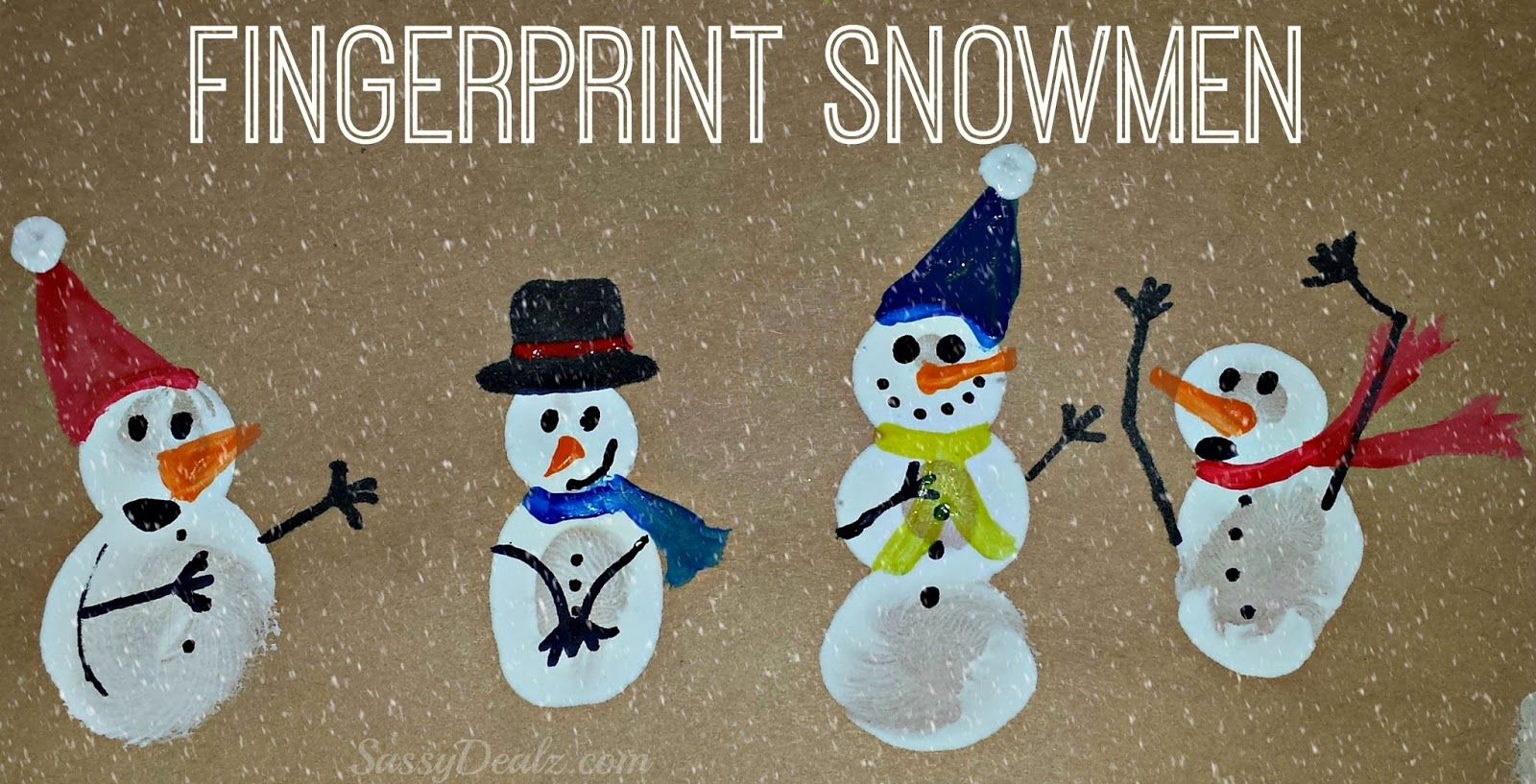 ... finger in white paint and push it on the paper to make snowmen bodies