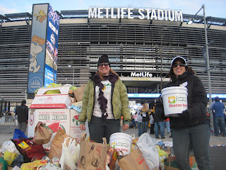 Collecting food donations at the Steelers Giants game at MetLife Stadium after Superstorm aka Hurricane Sandy.