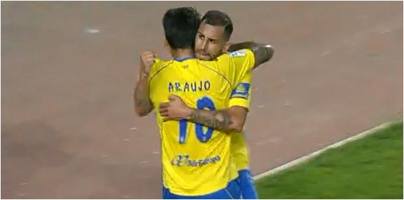 Araujo y Nauzet celebran el gol del segundo