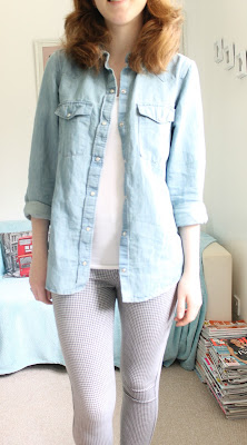 OOTD Zara Denim Shirt and Topshop Gingham Leggings