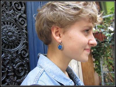 Boucles d'oreilles lune turquoise vintage