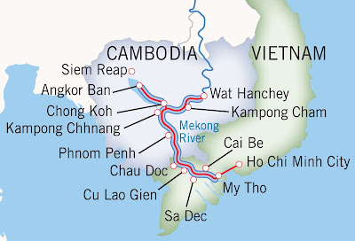 Map Mekong River from Vietnam to Cambodia