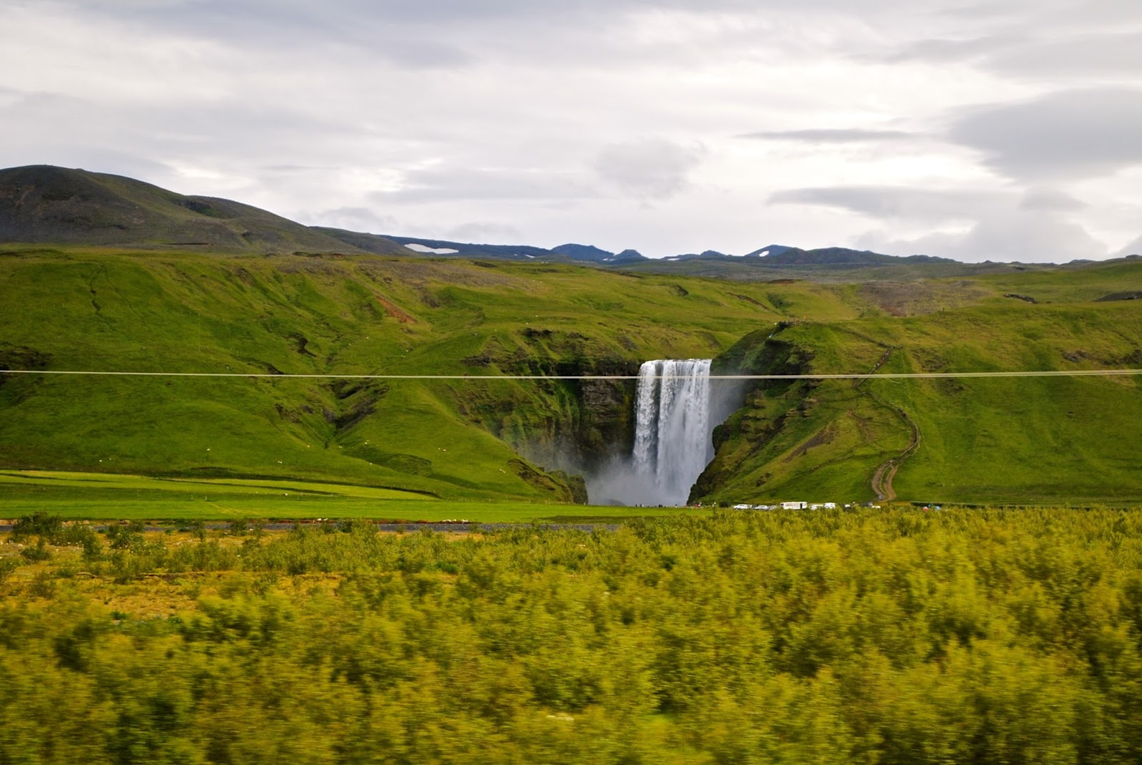 Skógafoss in Iceland from the road