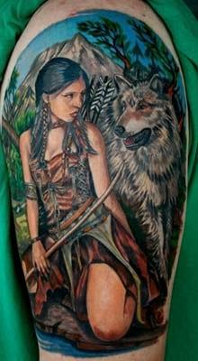tatuagens de indias com lobos e paisagem no fundo