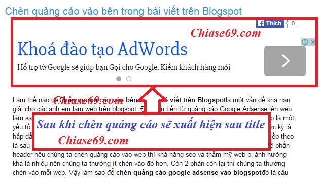 Chèn quảng cáo vào bên trong bài viết trên Blogspot
