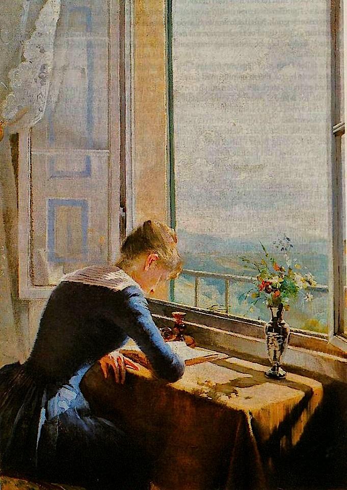 Asta Norregaard, Lesende kvinne ved apent vindu, 1889
