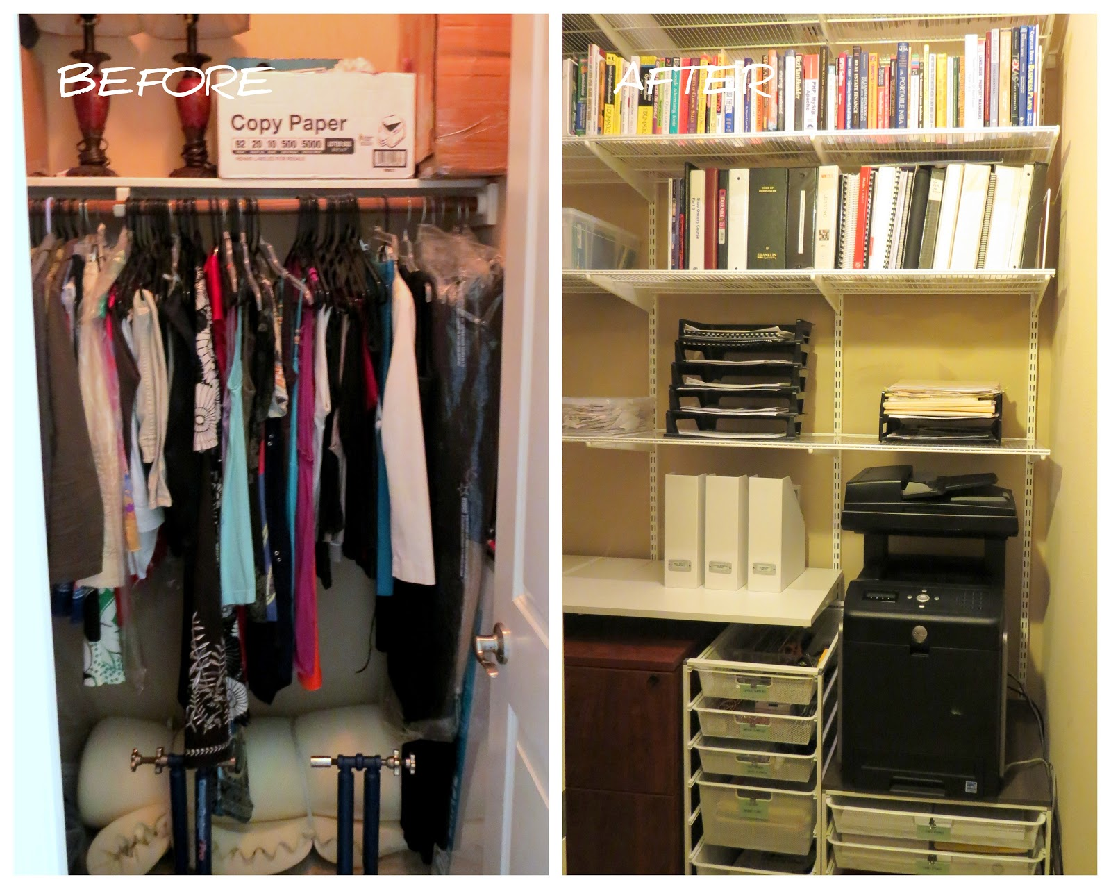 Organized Style by Kari: Guest Closet turned Office Closet