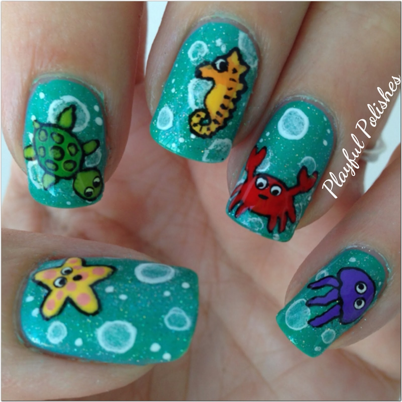 Playful Polishes June Nail Art Challenge Ocean Nails: Playful Polishes: JUNE NAIL ART CHALLENGE: SEA CRITTERS