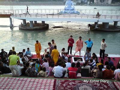 Aarti preparations in full swing at the Parmarth Niketan Ashram In Rishikesh