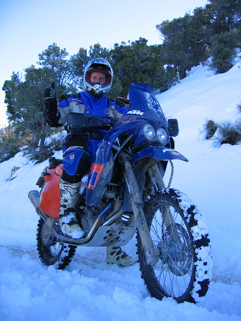 Big Bear, California.  Riding in the snow on the 660 Rallye.