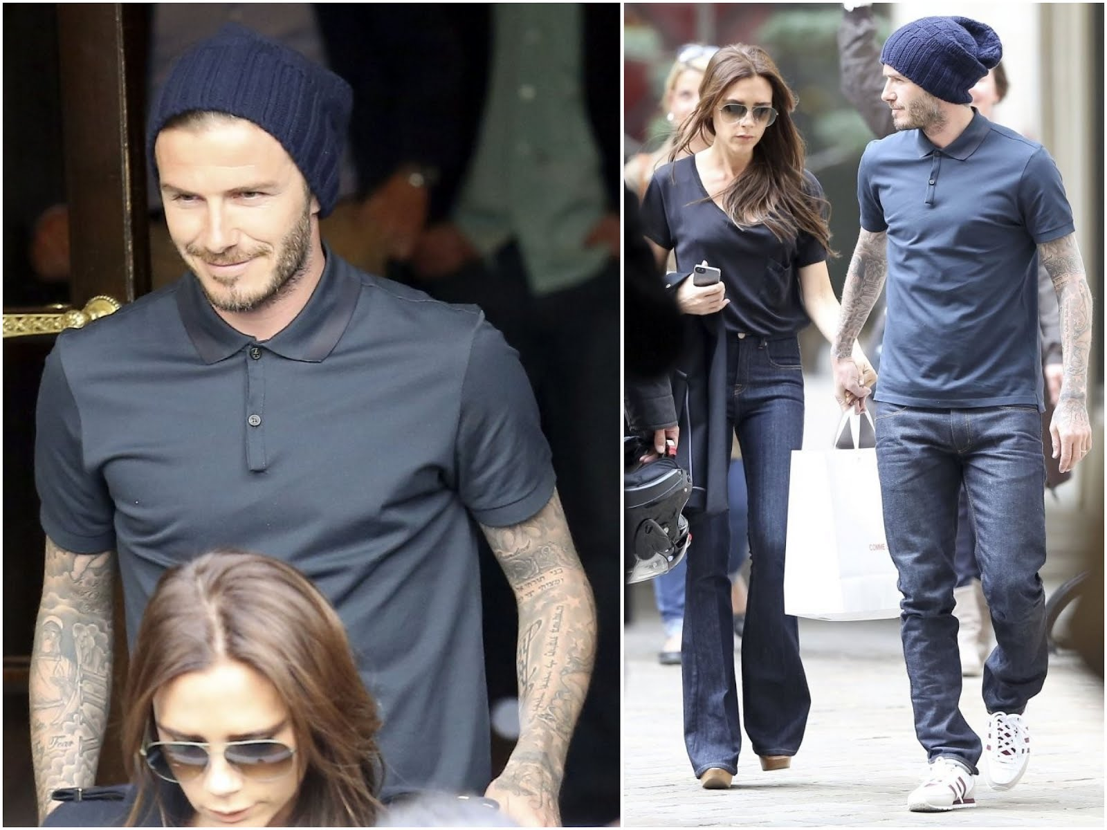 00O00 Menswear Blog: David Beckham in Lanvin grosgrain collar polo t-shirt, Paris Street Style May 2013