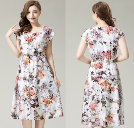 New 2016 Spring Plus Size Short Sleeve Elastic Waist Floral Print Rayon Silk Cotton Dress