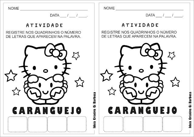 Atividade Cantiga CARANGUEJO  NÃO É PEIXE Hello Kitty para colorir