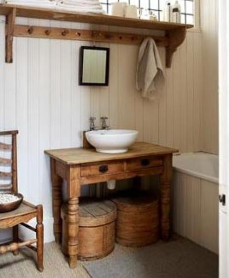 . To da loos  Wood tables as Bathroom vanities