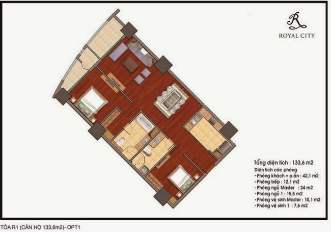 Chi tiết thiết kế căn hộ toà R1 chung cư Royal City diện tích 133.6 m2