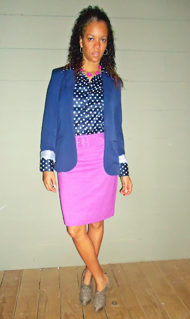 Poka Dot Blouse and Pink Skirt, blue Jacket