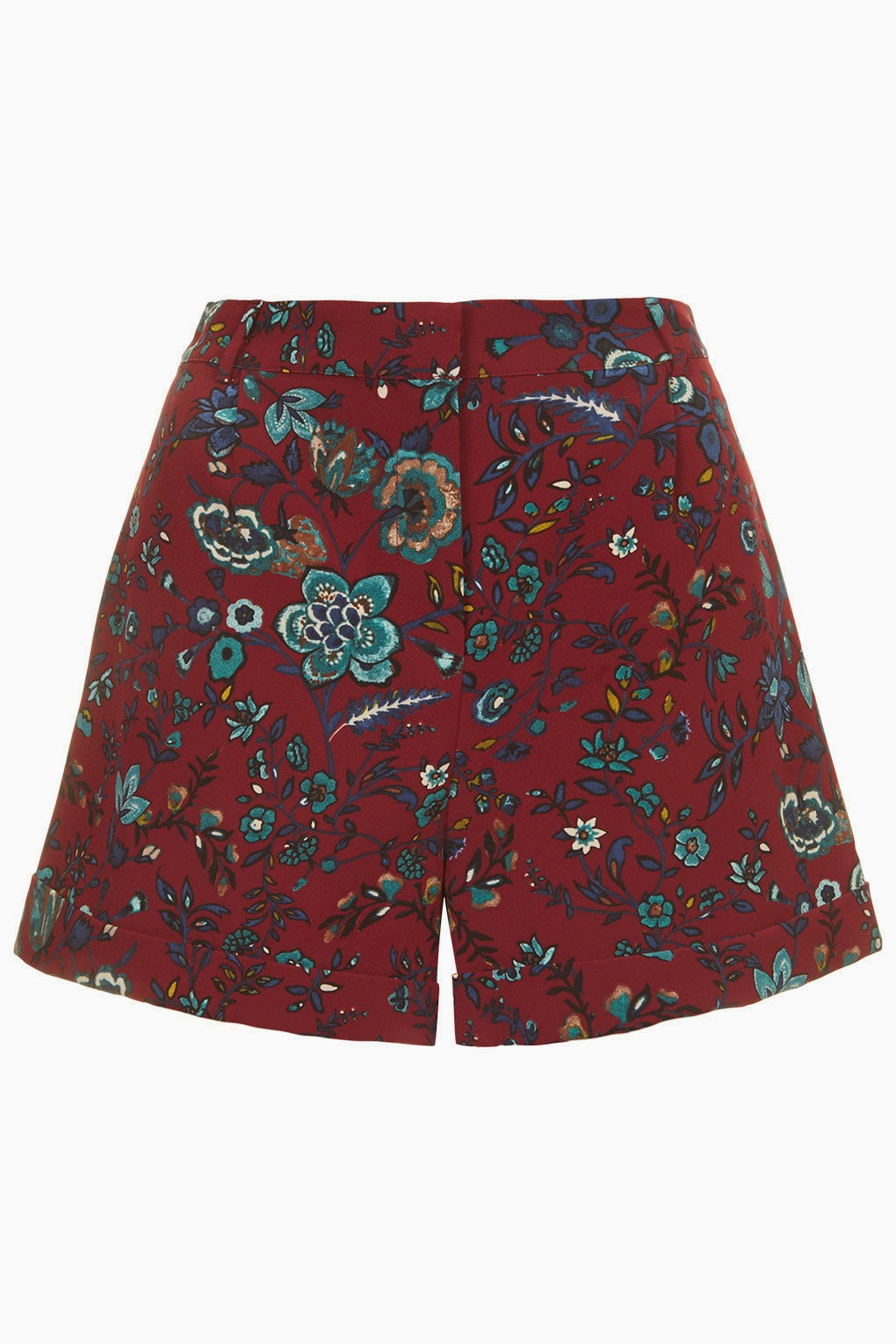 paisley burgundy shorts