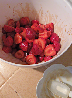 Bowl of Strawberries Dressed with Sauce