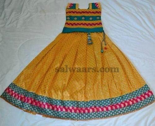 Simple Brocade Work Kids Skirt