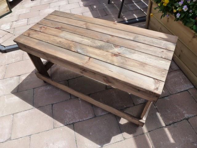 Creatief hergebruiken recycle als hobby stoer tuintafeltje van oud hout - Keukenmeubelen hout recyclen ...