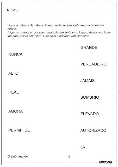 Sinônimos Liga Palavras Atividades Língua Portuguesa