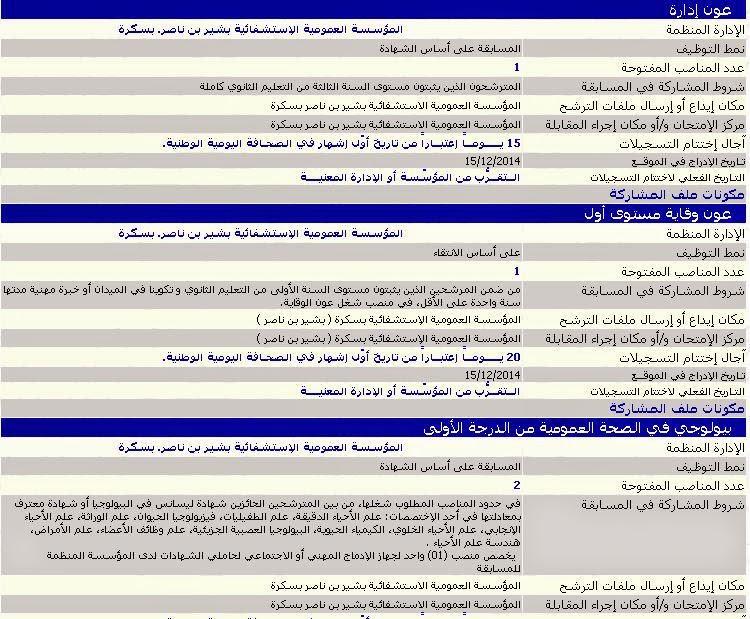 اعلان توظيف و عمل المؤسسة العمومية الإستشفائية بشير بن ناصر. بسكرة ديسمبر 2014