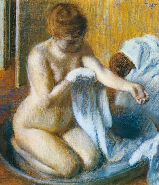 peinture du peintre Edgar Degas 1884 titre Femme au Tub description femme  nue faisant sa toilette agenouillée se frottant avec une serviette scène d'intimité tableau français de l'histoire de l'art