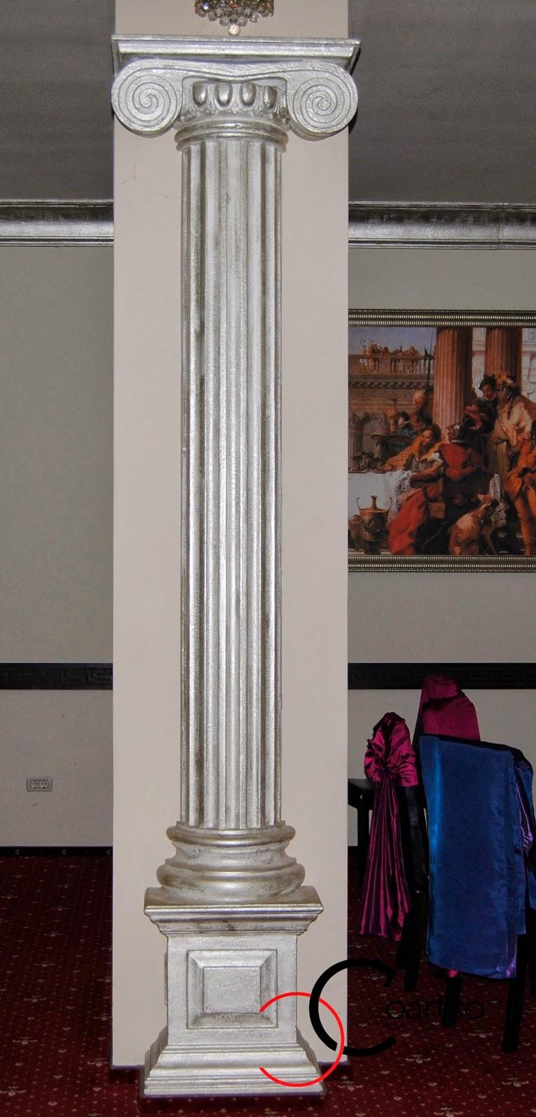 coloane grecesti, Coloane Decorative Polistiren, pentru sali nunti, coloane vopsea argintie