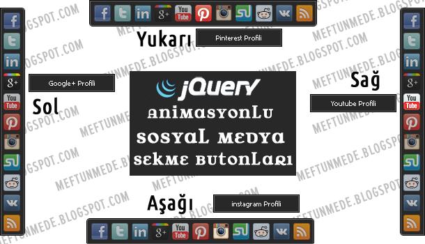 jQuery Animasyonlu Sosyal Medya Sekme Butonları