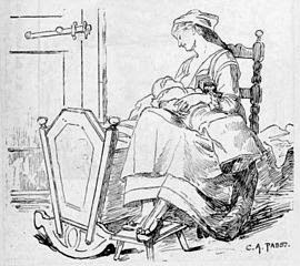 Mother breastfeeding baby on her lap in rocking chair by cradle, pen and ink free image