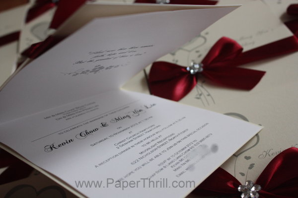 Luxurious ribbon love elegant wedding invitation
