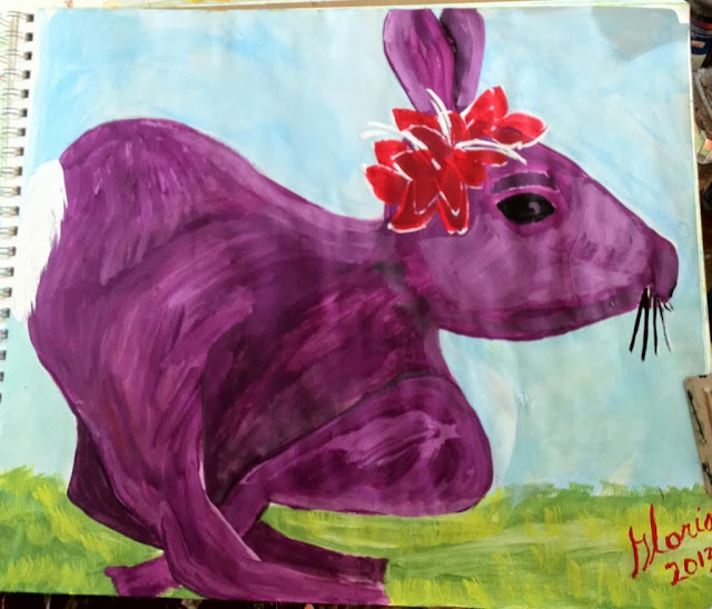 Fuschia Rabbit Hurrying to Tea party; cartoon by Gloria Poole