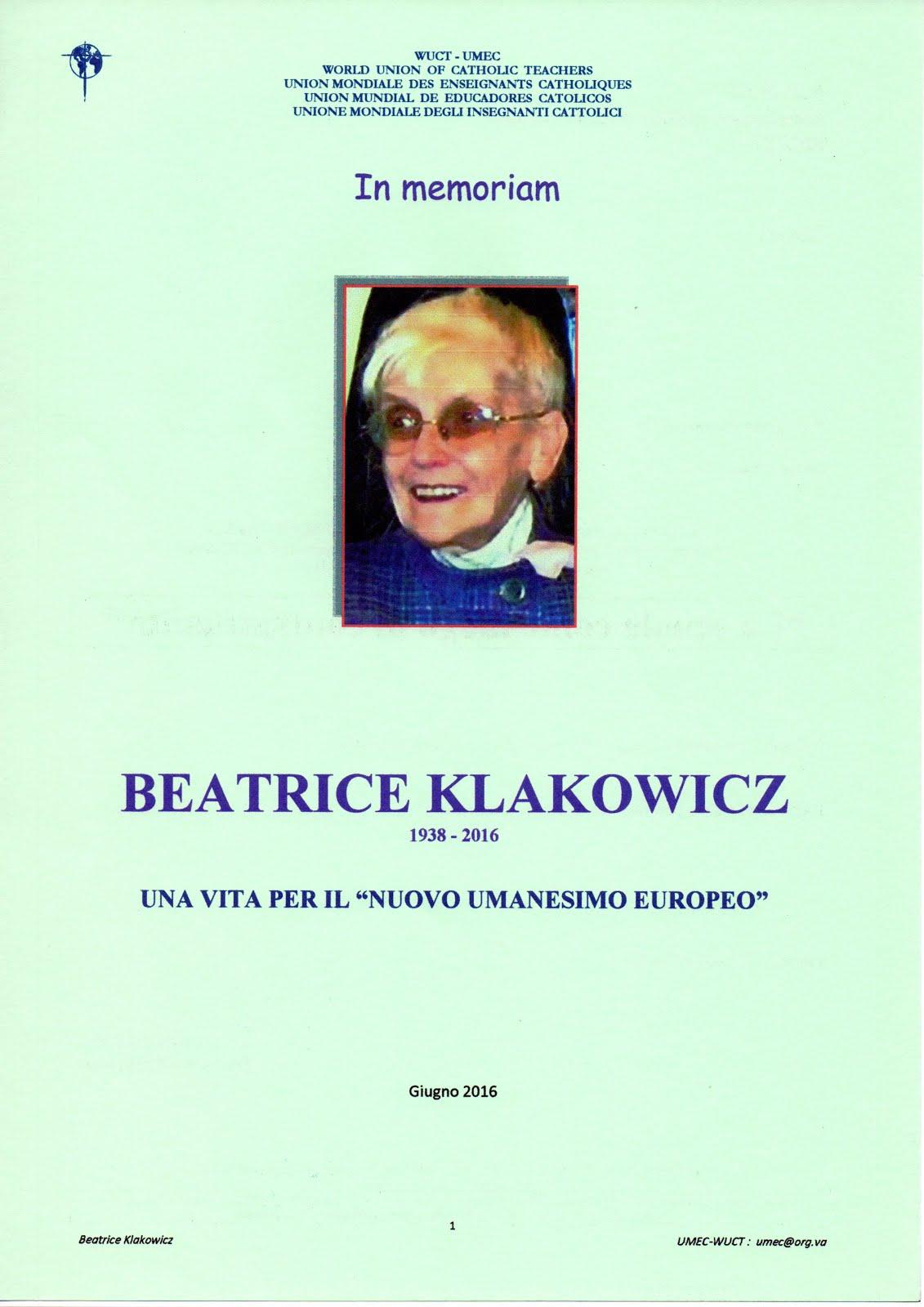 BEATRICE KLAKOWICZ - in memoriam