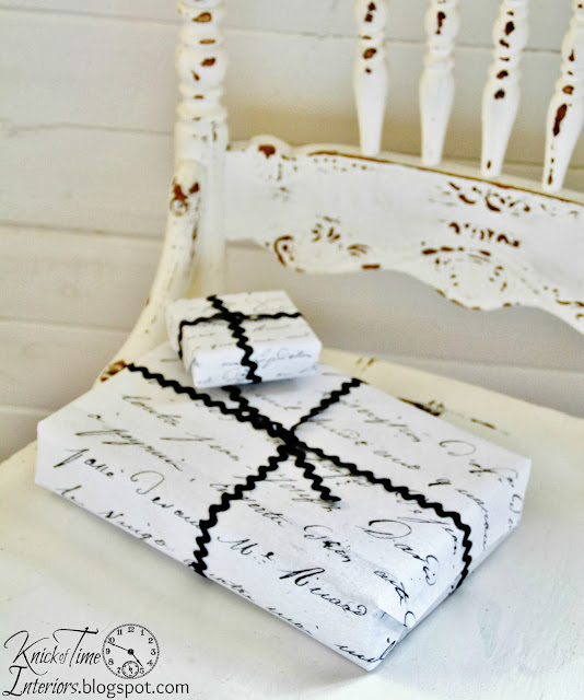 Engineering Print French Script Gift Wrap by http://knickoftimeinteriors.blogspot.com/