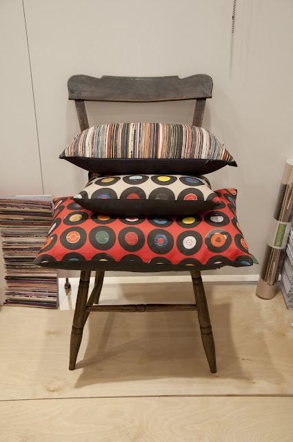 Sevens red, Sevens taupe and Stacks and Stripes Ella Doran cushions