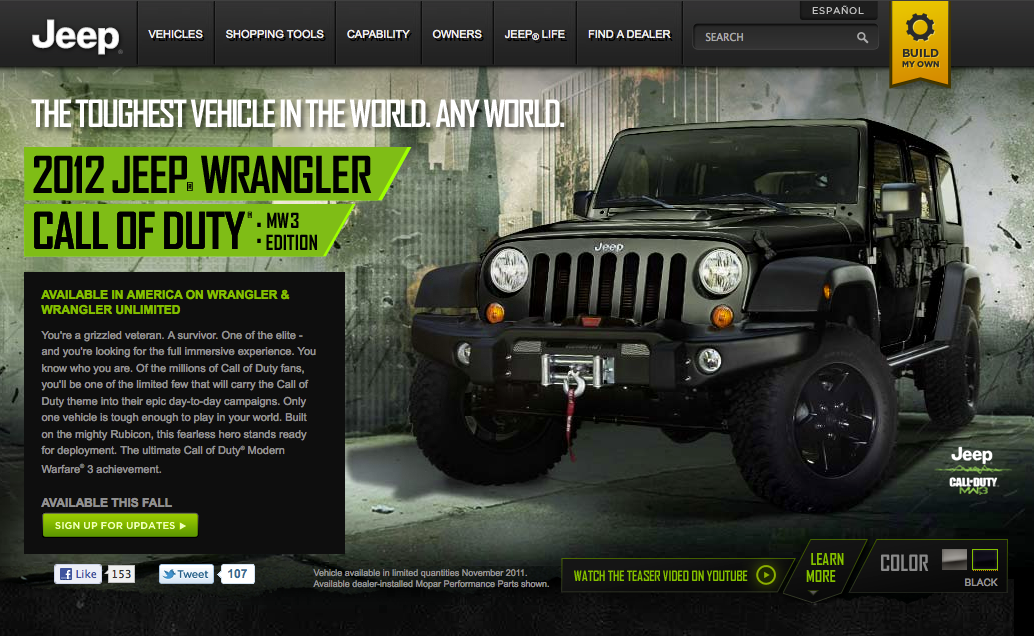 Lees Free Riff Jeep Wrangler Call of Duty MW3 Edition