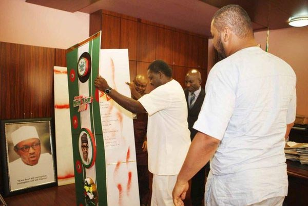 AIT Presents Giant Greeting Card To President Buhari (Photos)