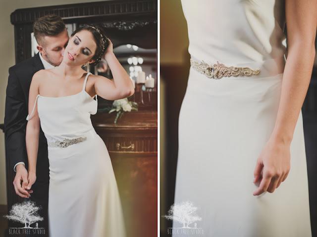 Romantyczna stylizacja ślubna, suknia ślubna ozdobiona biżuteryjnym pasem.