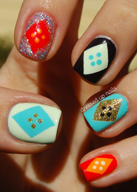 Dressed Up Nails - freehand diamond and dots geometric nail art with Floss Gloss polishes